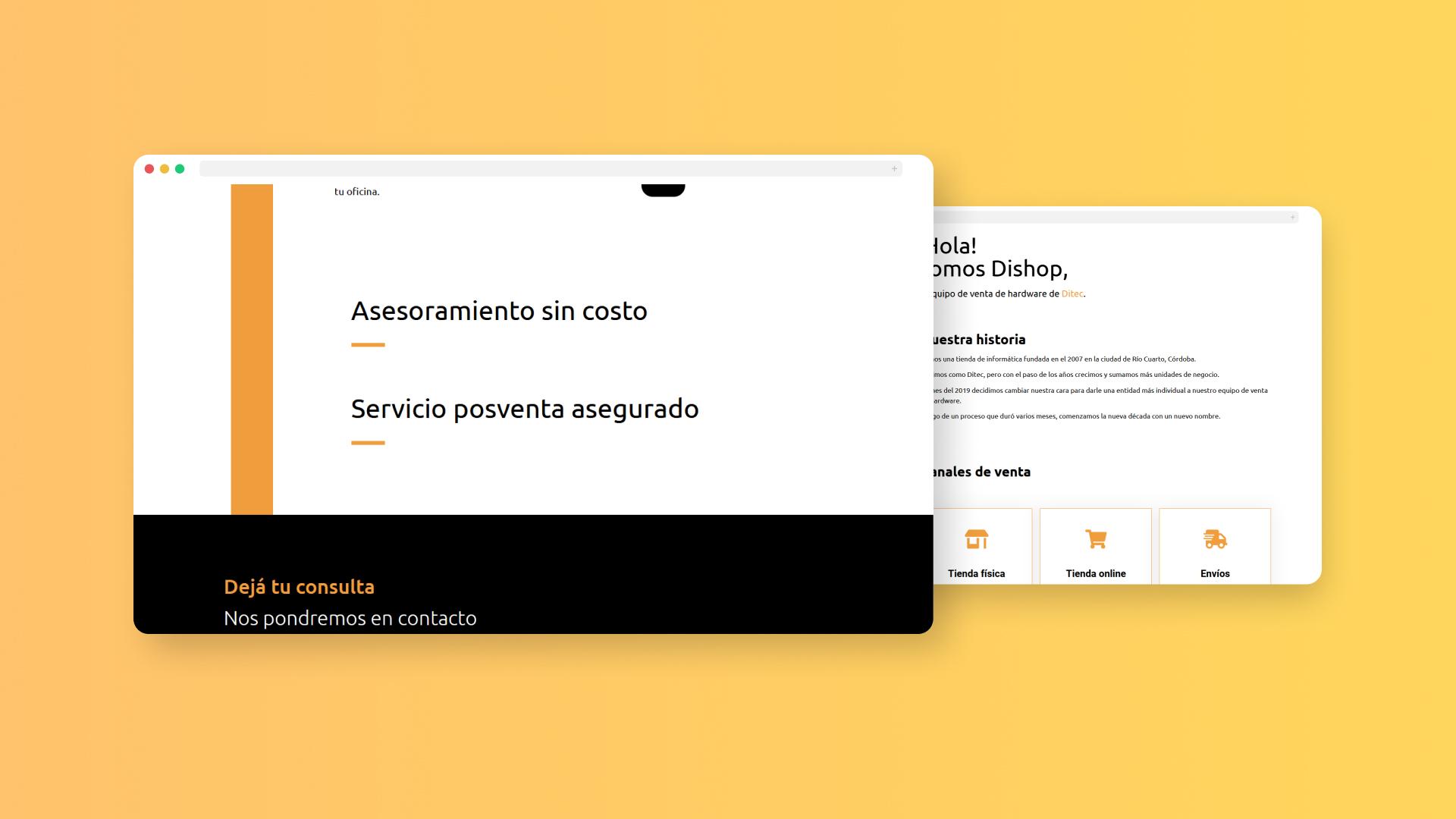 Diseño web para Dishop