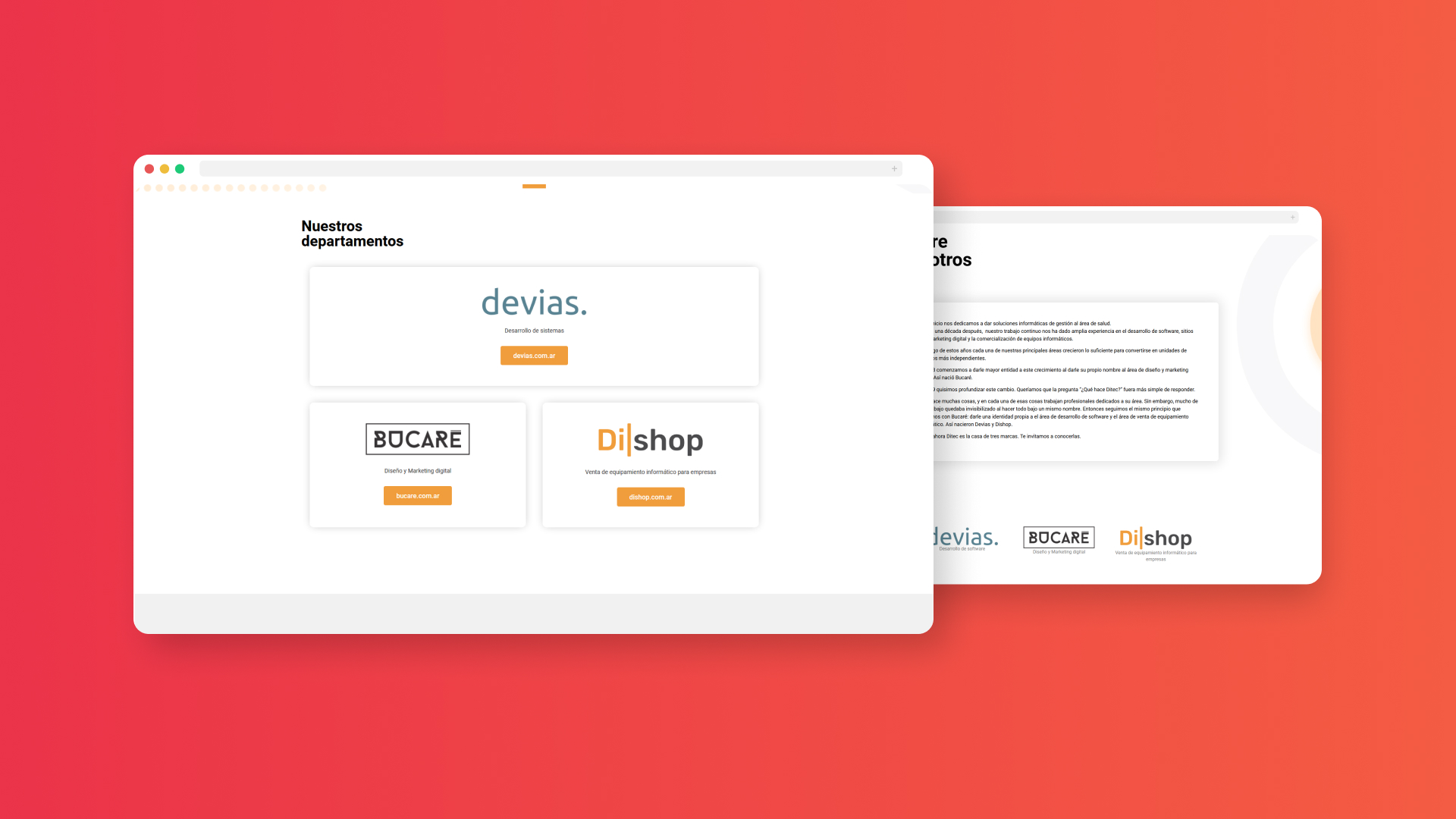Diseño de sitio web para Ditec