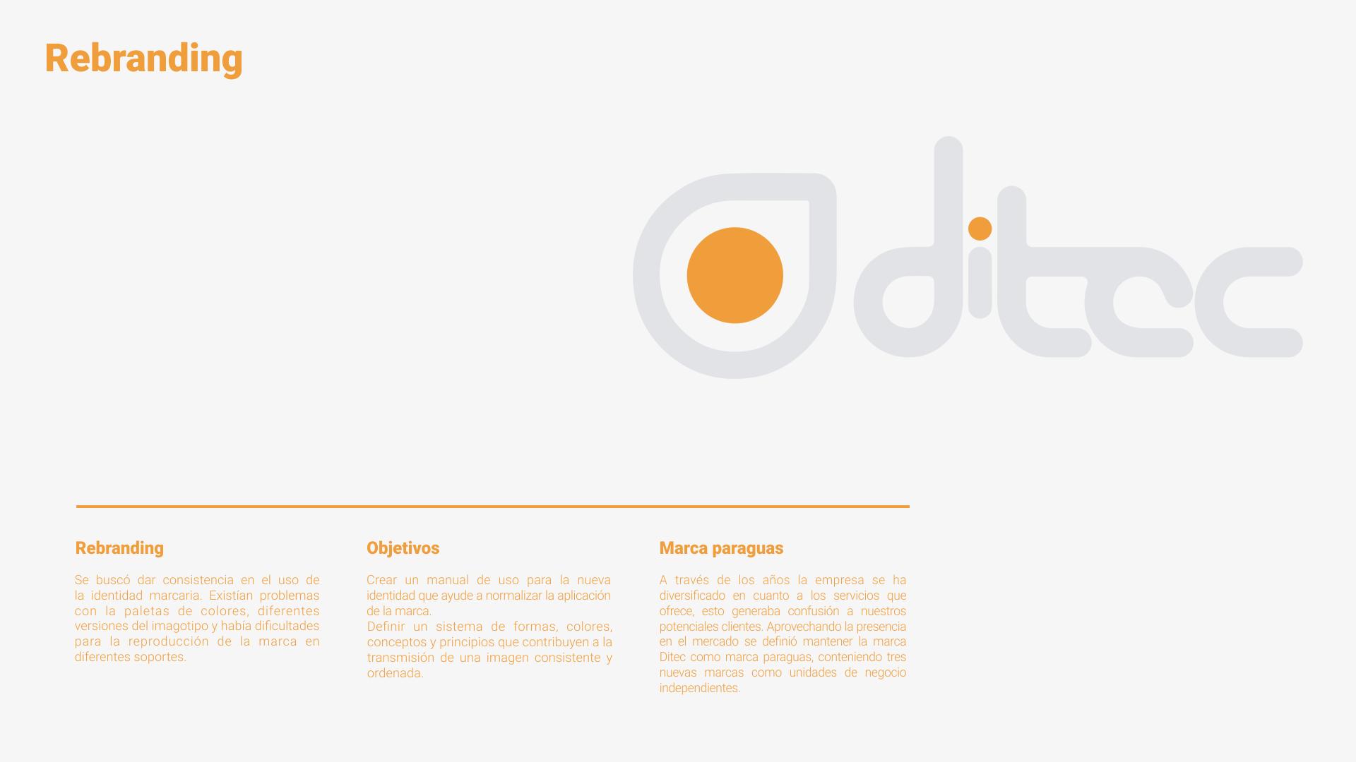 Proyecto de branding - Desallorro de marca para Ditec