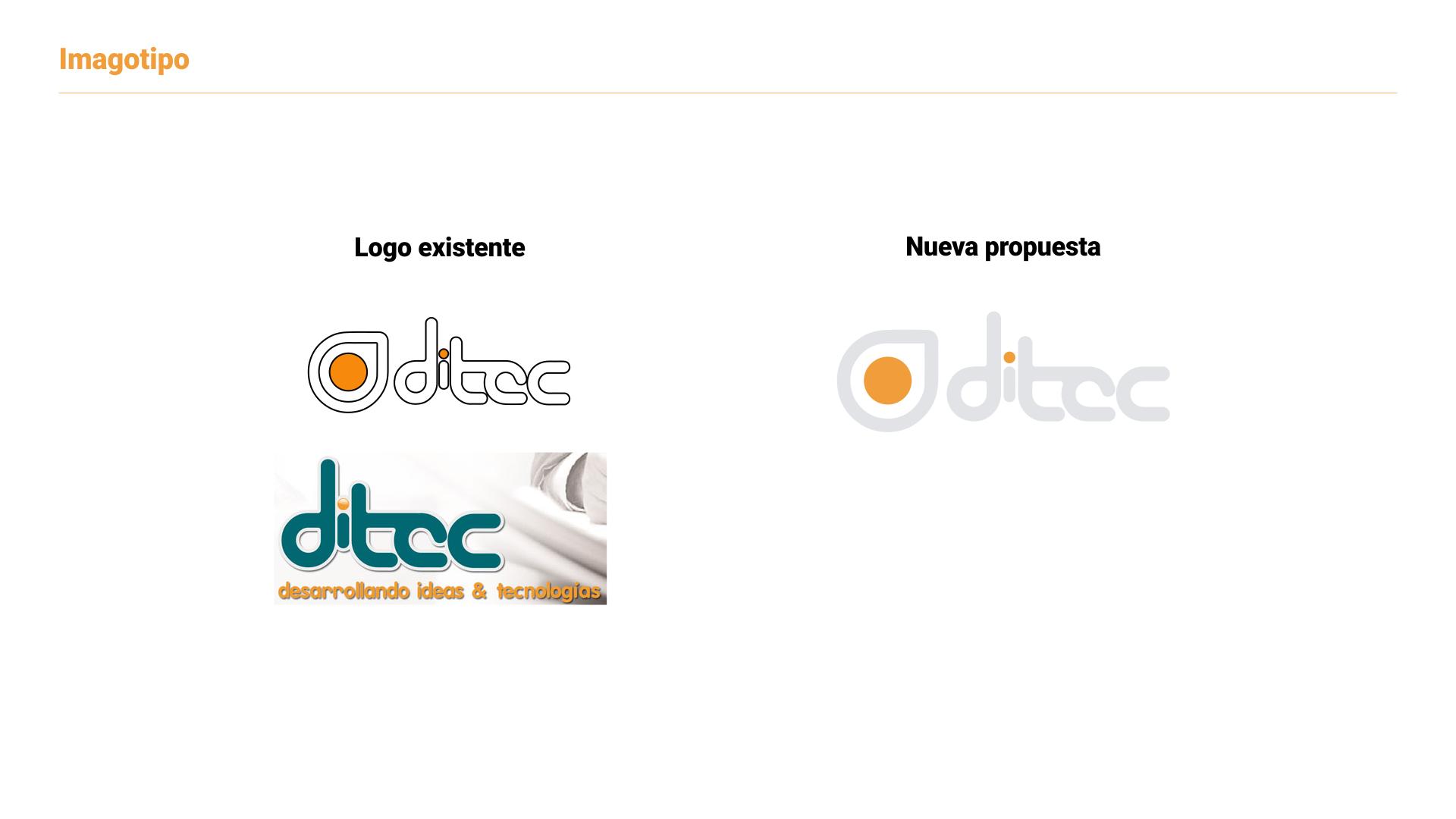 Desarrollo de marca para Ditec - logotipos anteriores vs nueva propuesta